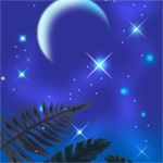 1575 - Blue Night w/Palm Leaves