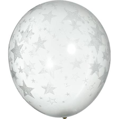 Latex Balloons – Clear with Glitter Stars  25 per pkg.