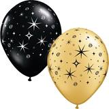 Latex Balloons – Gold/Black Sparkle  100 per pkg.