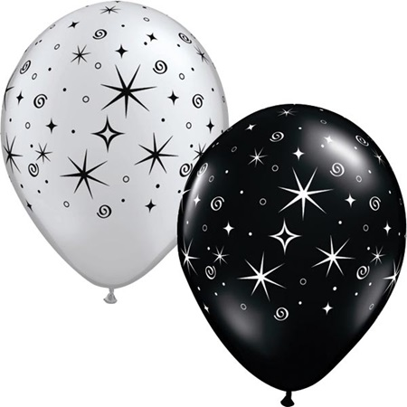 Latex Balloons – Silver/Black Sparkle   100 per pkg.