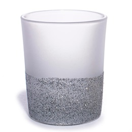 Frosted Glass Votive Holder with Silver Glitter