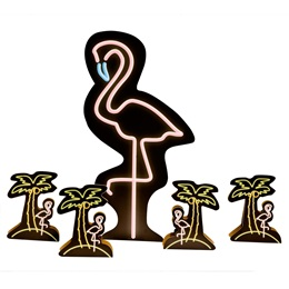 Miami Neon Flamingo and Centerpieces Kit (set of 4)
