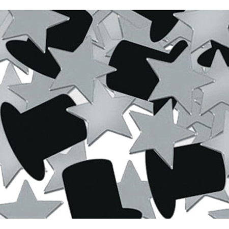 Silver Stars and Top Hats Confetti – 1 ounce