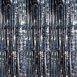 Holographic Curtain – Silver and Black