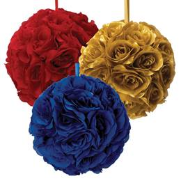 Fabric Flower Pomander - 6 in.