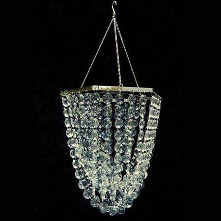 Geometric Chandelier With Clear Crystals