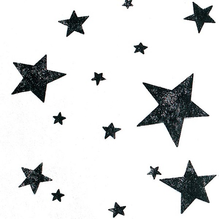 Black Stars on White Gossamer - 19 inches x 100 yards