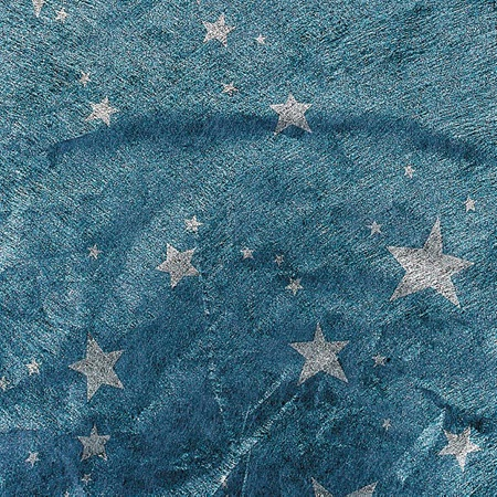 Silver Stars on Blue Gossamer - 60 inches x 25 yards