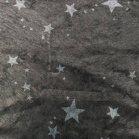 Silver Stars on Black Gossamer Décor - 60 inches x 100 yards