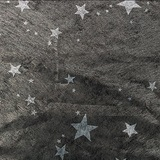 Silver Stars on Sheer Black Gossamer - 60 inches x 50 yards