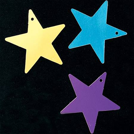 5 inch Silver Foil Laminated Stars - Package of 12