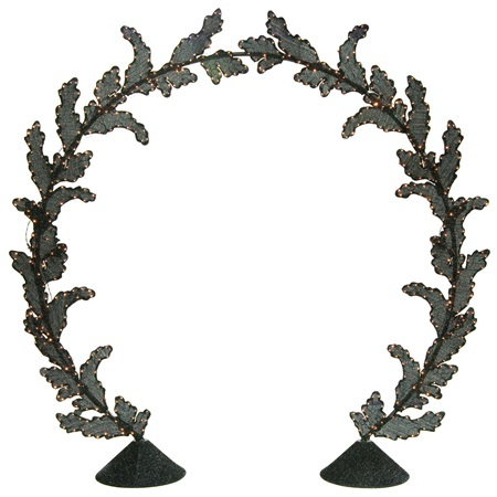 Lighted Black Leaves Arch