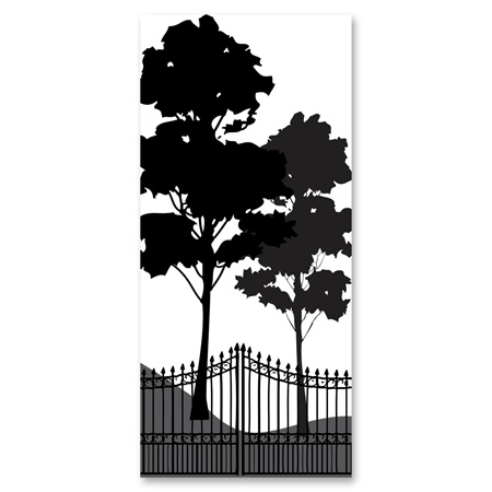Black-and-White Mural - Gated Garden