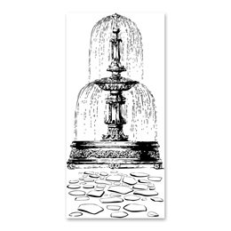 Black-and-White Mural - Fountain