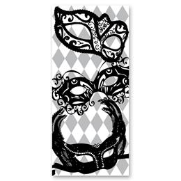 Black-and-White Mural - Mardi Gras Masks