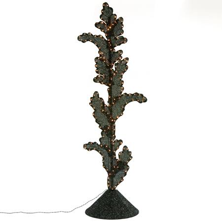 Lighted Black Leaves Column