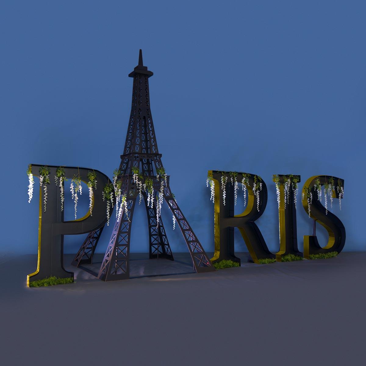 Golden Paris Letters Eiffel Tower Kit Prom Nite