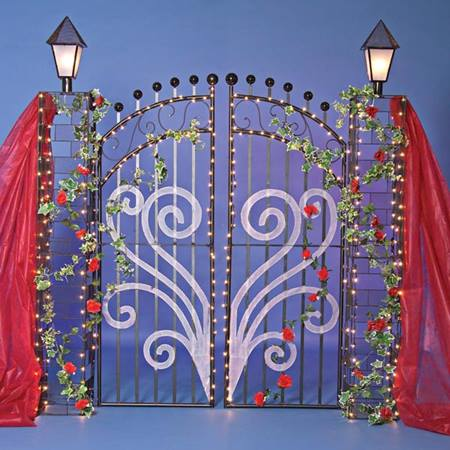 Corrugated Gate with Rose Garland and Gossamer