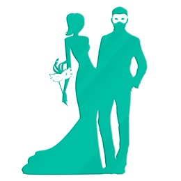 Teal Masquerade Couple Silhouette