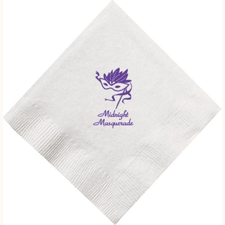 Imprinted White Beverage Napkins