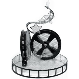 11 inch Movie Reel Wire Centerpiece - Set of 2