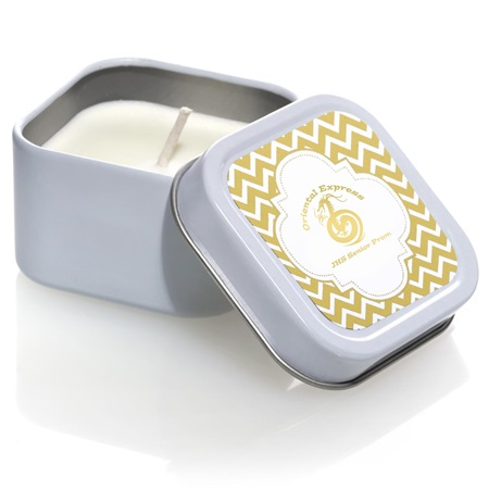 Square Candle Tin With Metallic Foil Label - Gold Chevrons