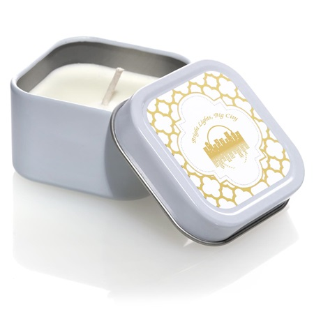 Square Candle Tin with Metallic Foil Label - Arabesco