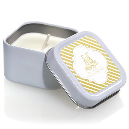 Square Candle Tin with Metallic Foil Label - Gold Lines