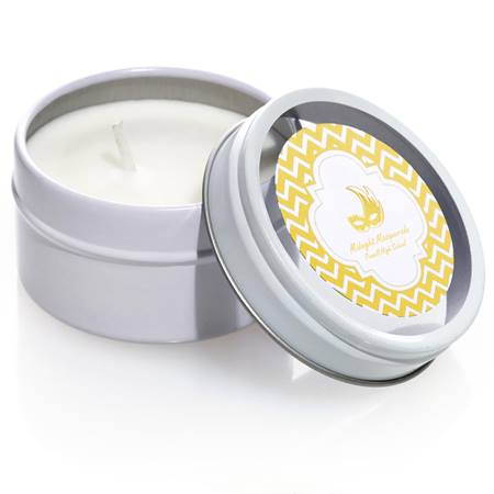 Round Candle Tin With Metallic Foil Label - Gold Chevrons