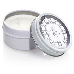 Round Candle Tin - Silver Arabesco Metallic Foil Label