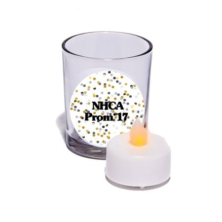 Clear Votive Candle Holder With LED Tea Light