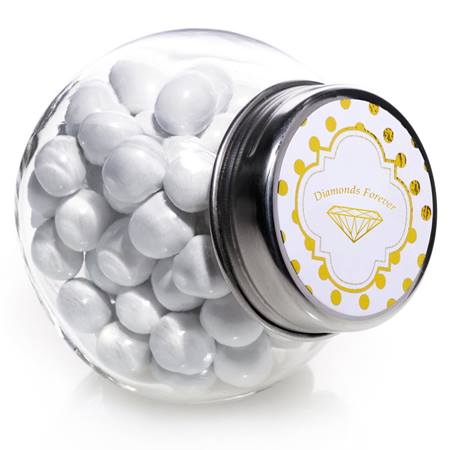 Candy Jar With Metallic Foil Label - Metallic Dots