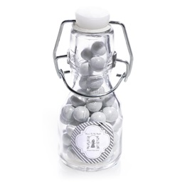Mini Glass Bottle with Metallic Label - Silver Lines