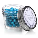 Mini Mason Jar with Metallic Foil Label - Silver Dots