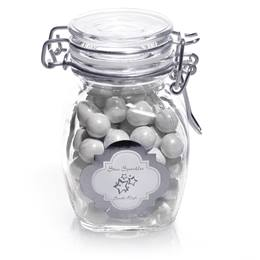 Glass Jar with Metallic Foil Label - Silver