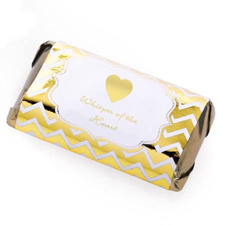 Mini Candy Bar Wrapper With Gold Chevrons Design