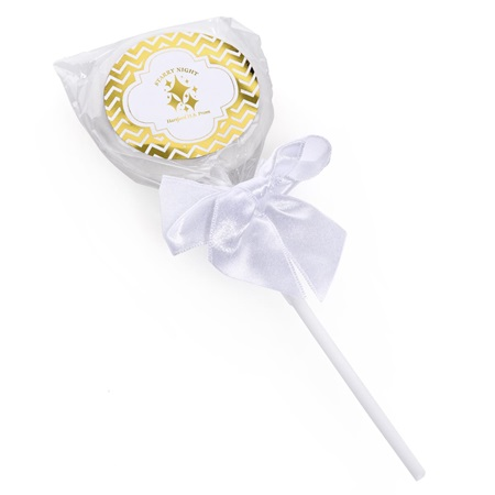 Lollipop With Metallic Foil Sticker - Gold Chevrons