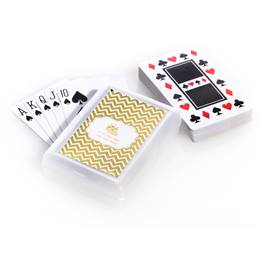 Playing Cards and Case With Metallic Foil Label - Gold Chevrons