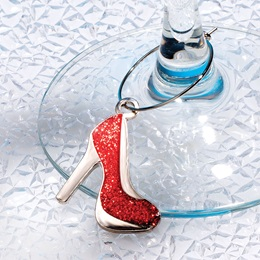 Glassware Charm - Red Ruby High Heel Shoe