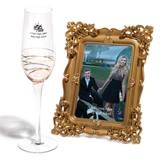 Gold Ribbons Flute and Gold Classique Frame Favor Set