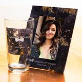 Tumbler and Frame Favor Set - Gold Droplets on Black