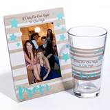 Tumbler and Frame Favor Set - Teal Stars on Stripes