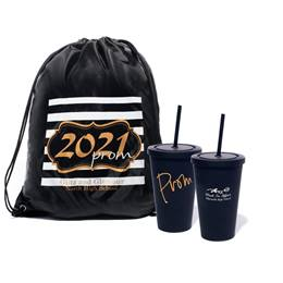 Favor Set - Gold 2021 Prom Crest Backpack and PROM Tumbler