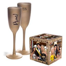 Golden Touch PROM Flute and Gold Stars Photo Cube