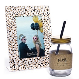 Confetti-scape Frame and Bradford Tumbler with Gold Lid and Glitter Wrap Set