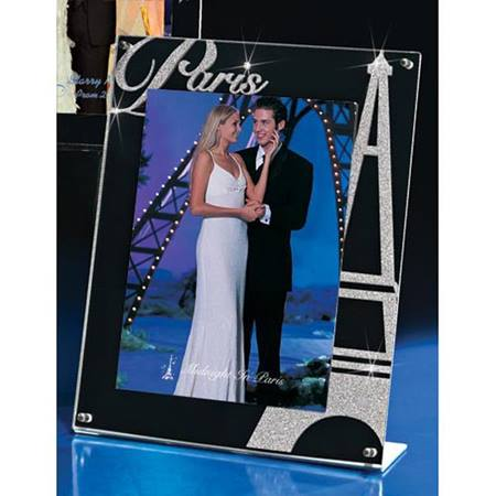 "Mirrored Acrylic Frame with Silver Glitter ""Paris"""