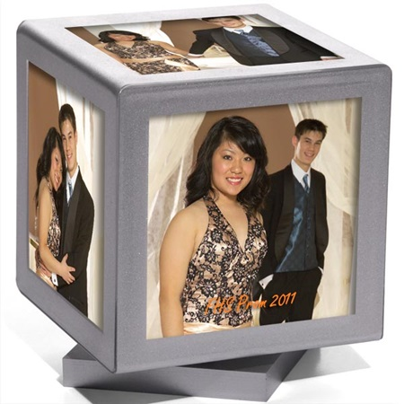 Silver Sparkle Rotating Cube Frame