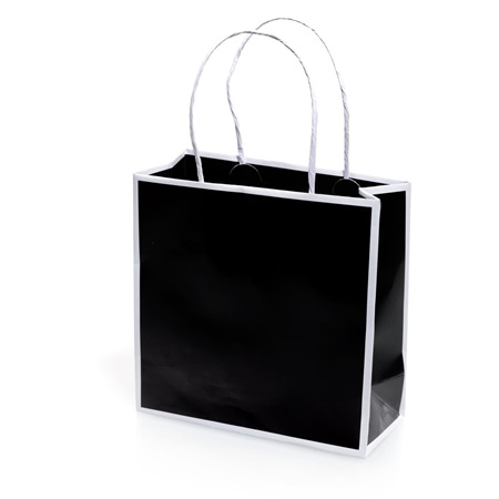 Black Favor Bag With White Trim