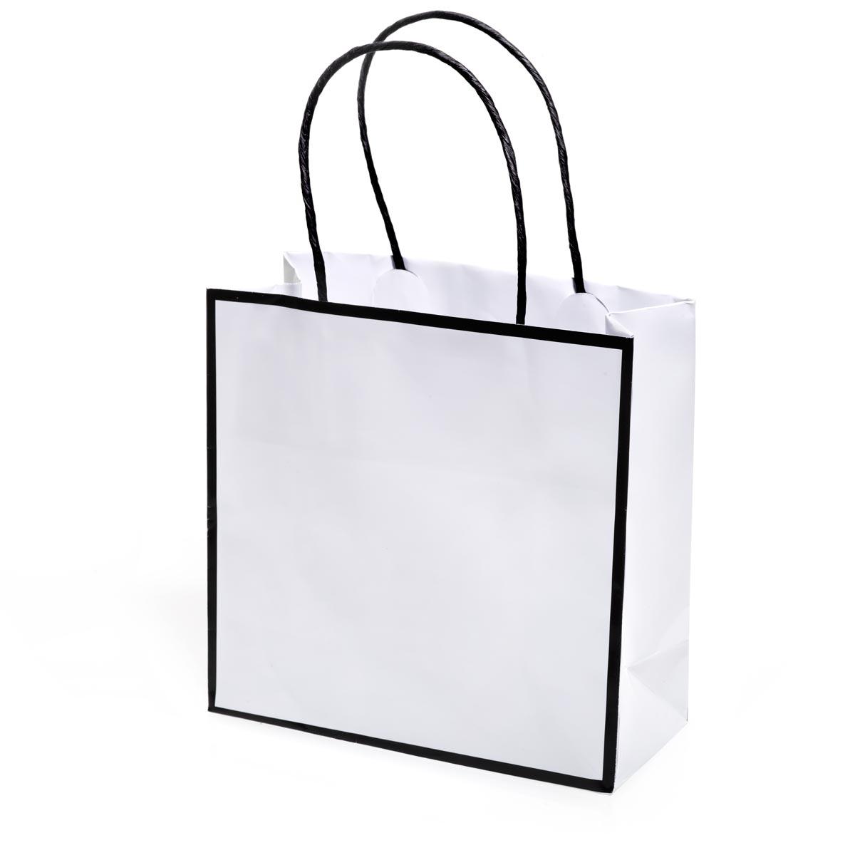 White Favor Bag With Black Trim Prom Nite