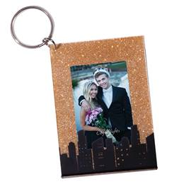 Gold Glitter Skyline Photo Key Chain